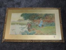 A watercolour, Alfred E Wragge, period pond lover tableau, signed and dated (18)99, 37 x 72cm,
