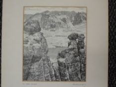 A pen and ink sketch, Alfred Wainwright, Ben More Coigach, signed, 18 x 15cm