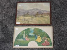 A watercolour, mountainous landscape, 25 x 35cm, framed and glazed, and a silk print, after Dudley