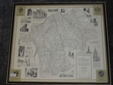 A print map, after Alfred Wainwright, The County of Westmorland, 1974, 3rd Ed, signed, 53 x 60cm,