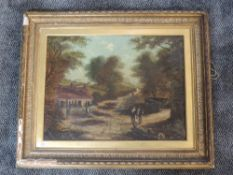 An oil painting, country cottage, 19th, 42 x 55cm, framed