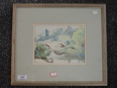 A watercolour, G H Macarthy, castle and river bridge, signed and dated 1929, 15 x 20cm, framed and