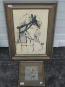 A silk picture, still life, 17 x 13cm, framed and glazed, and an oil painting, portrait study,