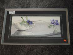 A print, still life, 26 x 62cm, framed and glazed
