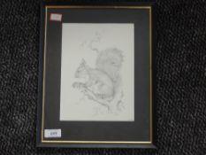 A print, grey squirrel, 21 x 16cm, framed and glazed