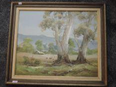 An oil painting, M Schmitt, rural landscape, 50 x 60cm, signed, framed
