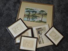 A watercolour, A Blake, Loch Ascog Bute, signed, 23 x 33cm, framed and glazed, a watercolour,