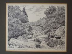 A pen and ink sketch, Alfred Wainwright, The Duddon at Wallbarrow, signed, 17 x 21cm