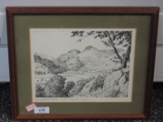 A print, after Alfred Wainwright, Langdale Pikes from Chapel Stile, 18 x 22cm, framed and glazed