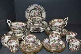 A selection of tea and coffee wares by Coalport in an Indian tree design
