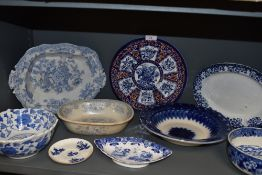 A selection of blue and white wear ceramics including Spode Copelands green stamped dish