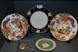 three Royal Crown Derby side plates, two Olde Avesbury and one Vine cobalt,also included is a