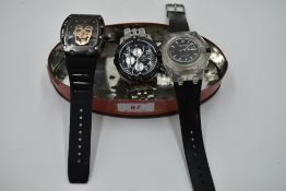Three gents replica fashion wrist watches including Richard Mille skeleton, Audemars Piguet Royal