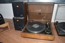 A Sony 5520 vinyl record player with Warfedale Diamond speakers