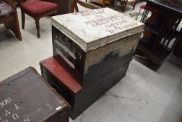Two metal travel cases marked Sitma line possibly rail or nautical related larger one ideal for