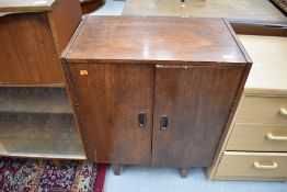 A vintage G Plan or similary stylised record or music cabinet , approx. W61cm H76cm