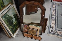 A selection of decorative pictures, oak tray and canted wall mirror