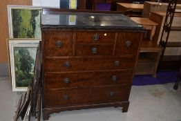 An early 20th Century mahogany bedroom chest by Waring & Gillow, intersting arrangement of two small