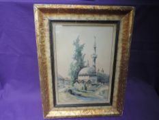 A WW1 framed Watercolour, Looking from the Royal Pavilion Hospital for Indian soldiers during WW1,