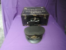 A WW2 Sub Lieut J.M.Braes R.N.V.R metal lockable box with his Naval Cap possible dated 194?