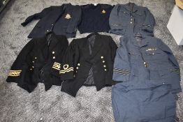 A RAF Jacket, an Air Force Blazer with 77 Bomber Squadron Badge, two Naval Jackets and a