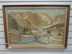 An oil painting, Chandos, mountain hunt, 50 x 754cm, framed