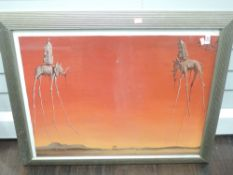 A decotative print, after Dali,The Elephants, 52 x 69cm, plus frame and glazed