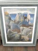An oil painting, Elspeth Buchanon, rocky coast, signed and dated 1943, 60 x 44cm
