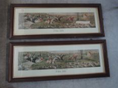 A pair of reproduction prints, after Leon, Full Cry, 28 x 86cm, plus frame and glazed