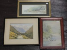 A watercolour, S W, Flushing Cornwall, initialled, 10 x 23cm, plus frame and glazed, a