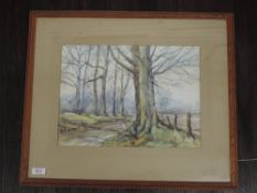 A watercolour, Wheeler, woodland track, signed, 27 x 37cm, plus frame and glazed