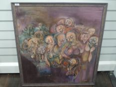 An oil painting on board, Jebibe, ghoulies, 80 x 74cm, plus frame