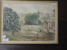 A watercolour, H W Speight, Kendal townscape, signed and dated, 1963, 23 x 32cm, plus frame and