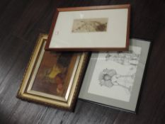 An etching, after Edgar Chaline, La Vallee fertile, attributed verso, 10 x 20cm, plus frame and