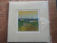 A print, artist proof, after Robert Prior, styilised boats, signed and dated 2008, 18 x 18cm