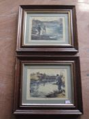 A pair of reproduction prints, AWC, fishing, 15 x 20cm, plus frame and glazed