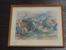 A print, in the style of Buffet, French landscape, 30 x 40cm, plus frame and glazed