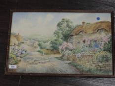 A watercolour, village thatched cottage, 30 x 48cm, plus frame and glazed