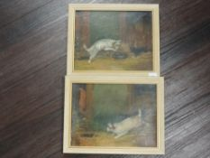 A near pair of oil paintings, terriers ratting, indistinctly signed, 19 x 24cm, plus frame
