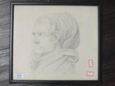 A pencil sketch, portrait study, indistinctly attributed and initialled, 28 x 31cm, plus frame and
