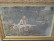 A reproduction print, after J W Waterhouse, The Lady of Shalott, 43 x 56cm, plus frame and glazed,