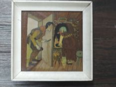 An oil painting, K Larson, Scandi folklore, signed and dated 1937, 24 x 24cm, framed