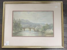 A watercolour, river landscape, 19th century, 22 x 34cm, plus frame and glazed