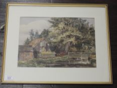 A watercolour, Sussex mill house, 25 x 36cm, plus frame and glazed