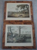 A pair of reproduction prints, after Hewitt, Hare Hunting and Partridge Shooting, 40 x 50cm, plus