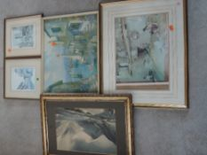 Four decorative prints, inc after William Heaton Cooper, Wastwater, 25 x 37cm, plus frame and
