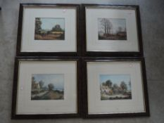 A pair of prints, after Vincent Selby, countryside scenes, 19 x 29cm, plus frame and glazed, and a