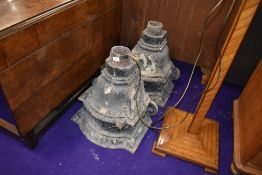A pair of large cast iron hoppers, each approx. height 49cm
