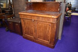 A Victorian mahogany chiffoneir sideboard having ledge back and drawer interior, dimensions