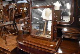 A Victorian mahogany toilet mirror, base width approx. 58cm